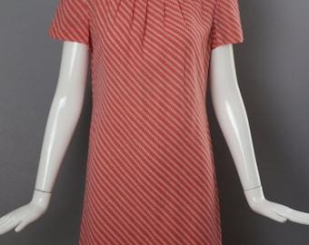 70s PAULINE TRIGERE pink stripe woven tailored sheath DRESS vintage 1970s 8