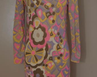 60s LEONARD Paris fine gauge knit psychedelic print shift DRESS vintage 1960s as is