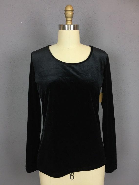 Black Velvet Long Sleeved Top