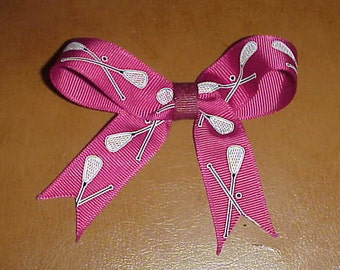 Beautiful handcrafted hairbow - Lacrosse theme - burgundy