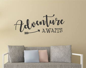 Adventure Awaits Wall Decal, Adventure Decal, Adventure Home Decor, Adventure Awaits Wall Sticker, Adventure Stickers, wall quote stickers