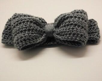 puffy bow headband – Toddler – Grey Heather – READY TO SHIP – crochet headband