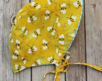 Made to Order Cotton Yellow Honeybees and Polka Dots Reversible Sun Bonnet, Sizes Newborn - 18-24 Months