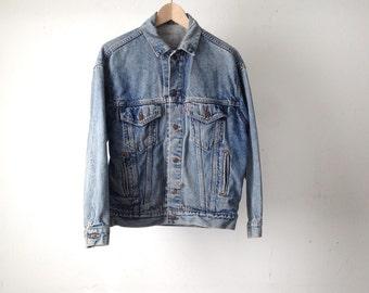 vintage levi's men's FADED blue jean DENIM classic LEVIS light blue cotton jean jacket distressed vintage coat