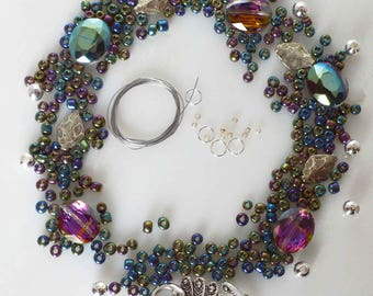 Peacock DIY necklace kit, Peacock DIY bracelet kit, peacock clasp DIY necklace Peacock clasp diy necklace, peacock theme jewelry kit supply
