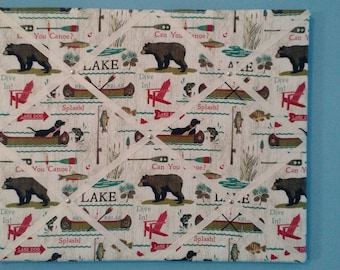 Lake Cabin Memo Board with bears and boats, 16 x 20