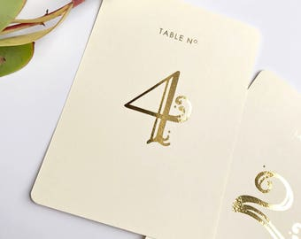 Wedding Table Number - Gold Table Numbers - Elegant Numbers - Table Numbers Gold - Gold Foil Table Numbers - Table Number Set - Rose Gold