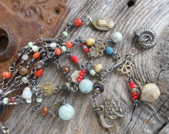 Trade Winds          Antique Bone Rosary Trade Bead Tassel Assemblage Necklace