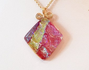 Rose Pink Diamond-Shaped Dichroic Fused Glass Pendant with Gold Filled Wire Wrap - Cyberlily
