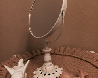 Vintage White Standing Vanity Mirror Double Sided Swivel Magnifying