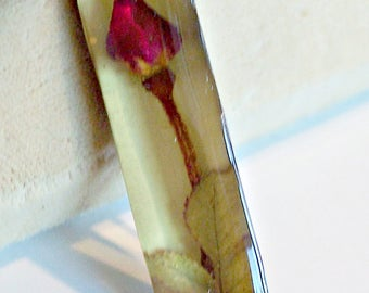 Dried Flower Rose Bud Lucite Sterling Silver Brooch Pin 925 Vintage