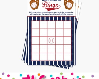 Baseball Bingo Card - Baseball Printable Party Game - Baseball Baby Shower Game- Printable Baby Shower Game Card - Instant Download - PDF