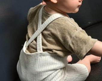 handmade baby boy and girl NON NOON ribbed stretch overalls / infant cream neutral harem romper / newborn 3 6 9 12 18 months