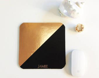 Black Leather Mouse Pad Rose Gold Custom Foil Home Office Desk Accessory Personalised Initials Silver Pink Gold Monogram Laptop Non Slip Mat