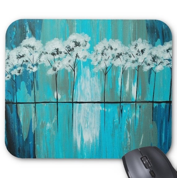 Mousepad Mouse Pad Fine Art Painting Abstract Tree Fine Art Contemporary Modern 'Blue Gray Arboretum' Light Blue White Trees Reflection