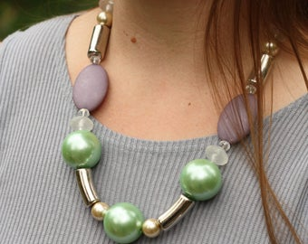 Huge Chunky Seafoam Faux Pearl Eclectic Statement Necklace, When the Tide Comes In