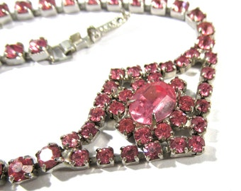 Rhinestone Bracelet VINTAGE Rhinestone BRACELET Pink Rhinestones Tennis Bracelet Rhinestone Bracelet Vintage Jewelry Destash (R69)