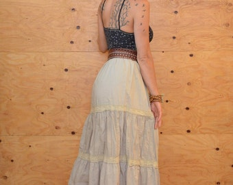 Vintage 80's Tiered Light Grey Cotton Embroidered Crochet Lace Maxi Skirt Size Large
