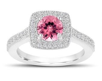 1.28 Carat Pink Tourmaline Engagement Ring, Wedding Ring 14K White Gold Halo Pave Certified Handmade