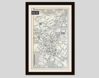 Santiago Chile Map, City Map, Street Map, 1950s, South America, Black and White, Retro Decor, City Street Grid, Historic Map, Mid Century