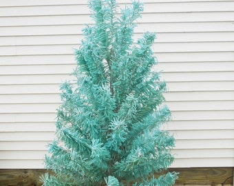 Vintage flocked Christmas Tree 7 ft. Galaxy Aqua blue and silver Crystal flocked Fireproof  w/ Stand 65 branches