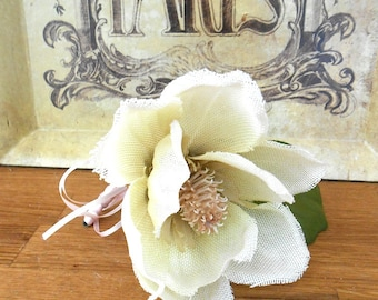 Vintage Shabby Style Ivory Fabric Magnolia Corsage for Mothers Day or Wedding