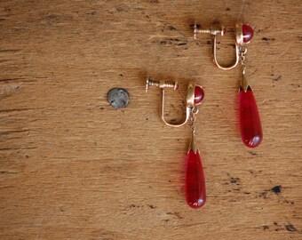 Antique 14K synthetic ruby torpedo drop earrings