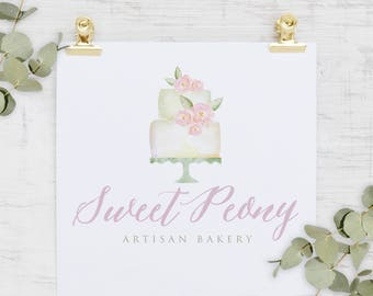Logo design, Cake logo, bakery logo, Floral Logo, Painted Logo, Watercolour Logo, Peony Logo, Wedding Logo, Business Logo, Photography Logo