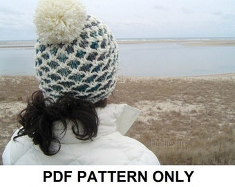 Knitting Pattern - Hat Knitting Pattern - Pom Pom Hat Pattern - the CHATHAM Hat (Toddler, Child & Adult sizes)