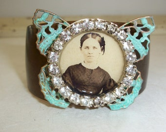 Bronze Cuff Bracelet with Vintage Photo, Rhinestones, Butterfly Filagree; Handmade Cuff Bracelet, Vintage Photo Jewelry