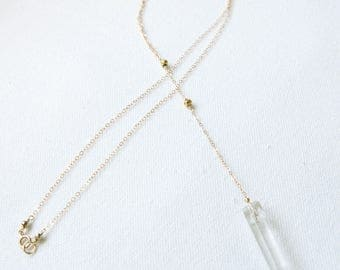 Crystal Quartz & Pyrite Lariat Necklace