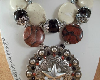 Cowgirl Necklace Set - Chunky Red Picture Jasper - White Howlite - Black Agate - Huge Star Concho Pendant