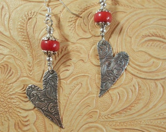 Western Rodeo Cowgirl Earrings - Floral Embossed Tibetan Silver Hearts with Coral