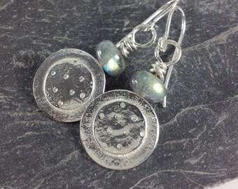 Silver and labradorite Dotty earrings