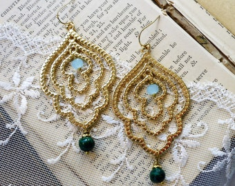 Moroccan Arch,Genuine Green Malachite and Aqua Chalcedony Gemstone,Etched Matte Gold Metal Boho Earrings from Hollywood Hillbilly