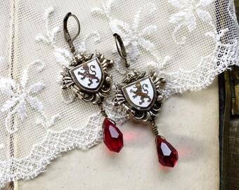 Hear Me Roar,Shabby Vintage Heraldic Lion Enamel Shields and Red Crystal Teardrop Vintage Assemblage Earrings by Hollywood Hillbilly
