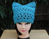 Turquoise Blue Pussy Cat Hat w/ Ears, Summer Lacy PussyHat Lightweight Soft Acrylic Crochet Knit Thin Spring Beanie, Ready to Ship in 2 Days