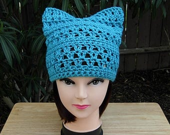 Turquoise Blue Pussy Cat Hat w/ Ears, Summer Lacy PussyHat Lightweight Soft Acrylic Crochet Knit Thin Spring Beanie, Ready to Ship in 1 Days