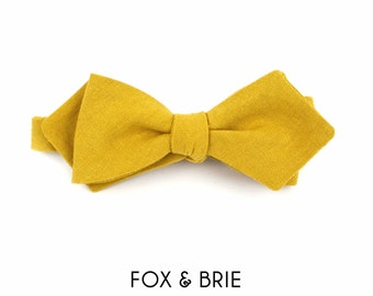 Mustard Linen Pointed Bow Tie