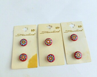 """Millefiori Flower Red Extruded Plastic Shank Round Shirt Buttons Lot 1/2"""" Diameter Unused on Cards NOS"""