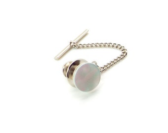 White Pearl Tie Tac - White Mother of Pearl Tie Tac with Chain - White Tie Tac