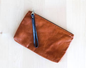 Tan leather clutch bag with black wrist strap, clutch purse,fully lined clutch,Tan leather, gift for her,bridesmaid gift, handmade, wristlet
