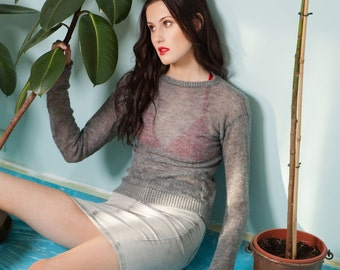 Knitted gray mesh see through sweater alpaca wool blend THE SHADOW