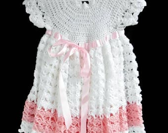 Baby Girls Crochet Dress White and Pink with Matching Ribbon, Spring Summer Handmade Knitted Baby Dress