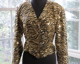Gold Sequins Jacket, Gold and Black Jacket, Fine Feathers, Small