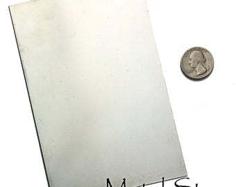 "Nickel Silver Metal Sheet 6"" x 4"" 22 gauge - Make Your Own Blanks and ID Tags"