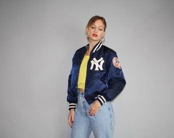 Vintage 1980s New York Yankees MLB Baseball Women's Small Satin Starter Bomber Jacket - Satin Starter Jackets - Vintage Jacket  - W00009