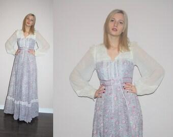 1970s Vintage Gunne Sax Pastel Floral  Lace Prairie Maxi Dress - Vintage Gunne Long Sax Dress - W00459