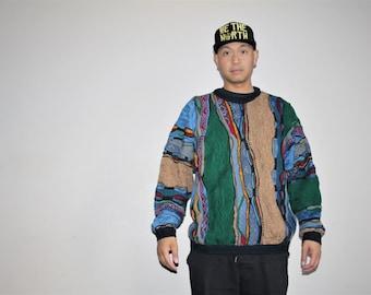 XL Vetements 1990s Vintage Hip Hop Authentic Coogi Oversize Rainbow Cosby Rap Sweater - Biggie Smalls  - 90s Clothing - Men's VTG -  MV0005