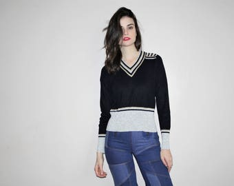 Vintage 1960s Metallic Silver and Gold Mod Striped Knit Sweater - 60s Mod Sweaters - W00784
